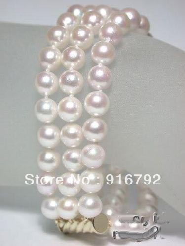 free P&P >>>>> 3row 8-9mm akoya AAA white pearl bracelet jewelry clasp 7.5''