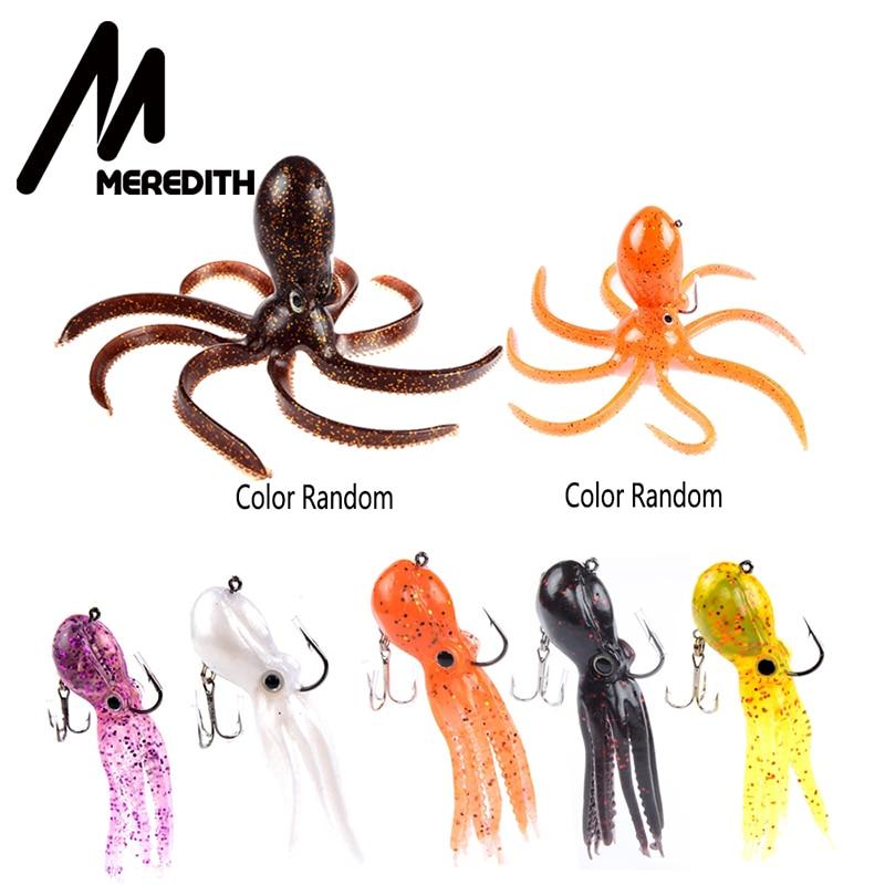 Meredith 7 pièces 3 taille tête de gabarit de pieuvre artificielle longue queue souple plomb pieuvre leurres de pêche pour la pêche en eau salée livraison gratuite