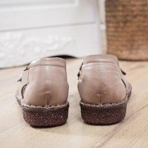 Image 4 - GKTINOO cuero genuino señoras zapatos planos de verano Mujer Slip On Casual mocasines con flores punta redonda sandalias de comodidad suave Mujer