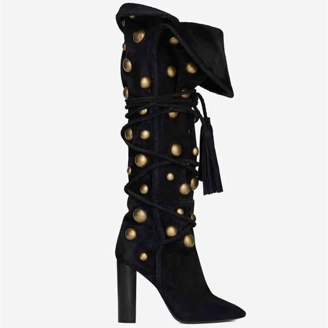 Black Suede Slip On Cross Tied Tassels Women Boots Knee High Gold Metal Studs Roll Down Design Chunky Heels Loose Long Boots