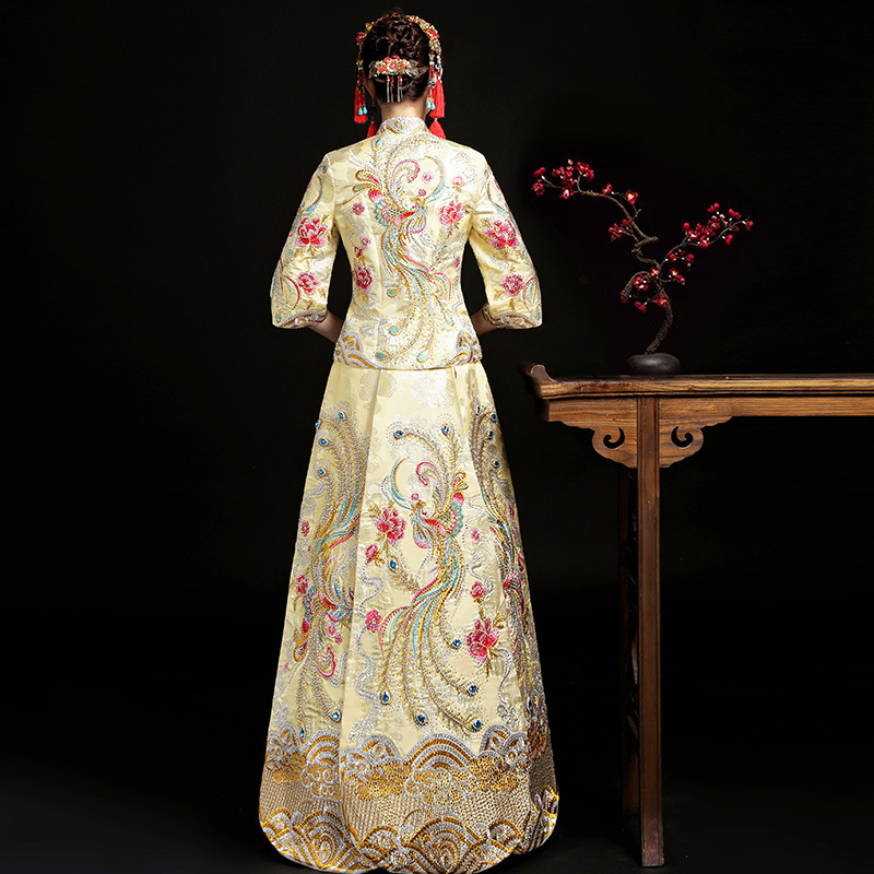 Champagne Chinese Bride Wedding Dress Vintage Royal Female Phoenix Qipao Marriage Suit Traditional Embroidery Cheongsam S-XXL