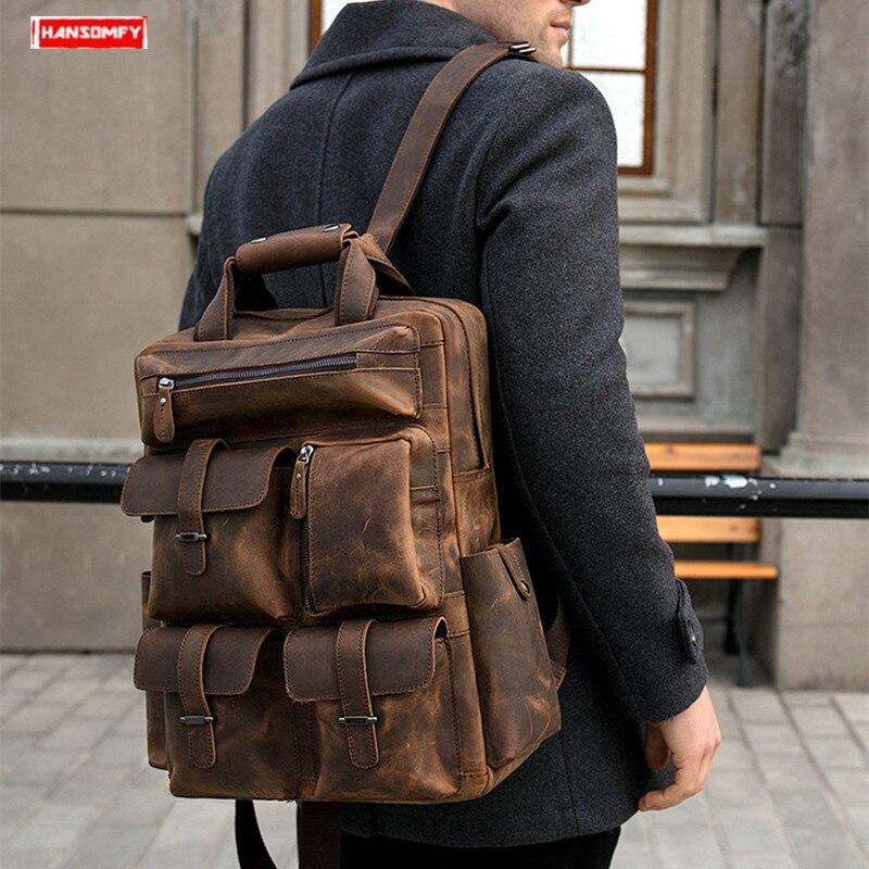 Retro crazy horse skóry męska plecak duża pojemność 15.6 cal laptopa torba na ramię pierwsza warstwa skóry mężczyzna podróży plecak w Plecaki od Bagaże i torby na  Grupa 1
