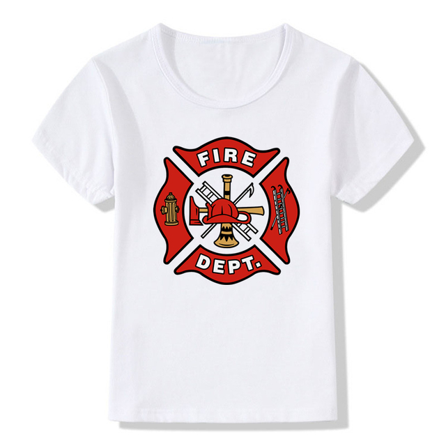 fc9697c51 Boys&Girls Print Fireman Gift Firefighter T-shirt Children Short Sleeve T  shirt Kids Casual Tops Baby Clothes,HKP405