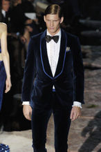 2018 New Latest Coat Pant Designer Men Fashion Wedding Grooms Tuxedo Dinner Green Suit Velvet Dark blue Jacket Blazer pant