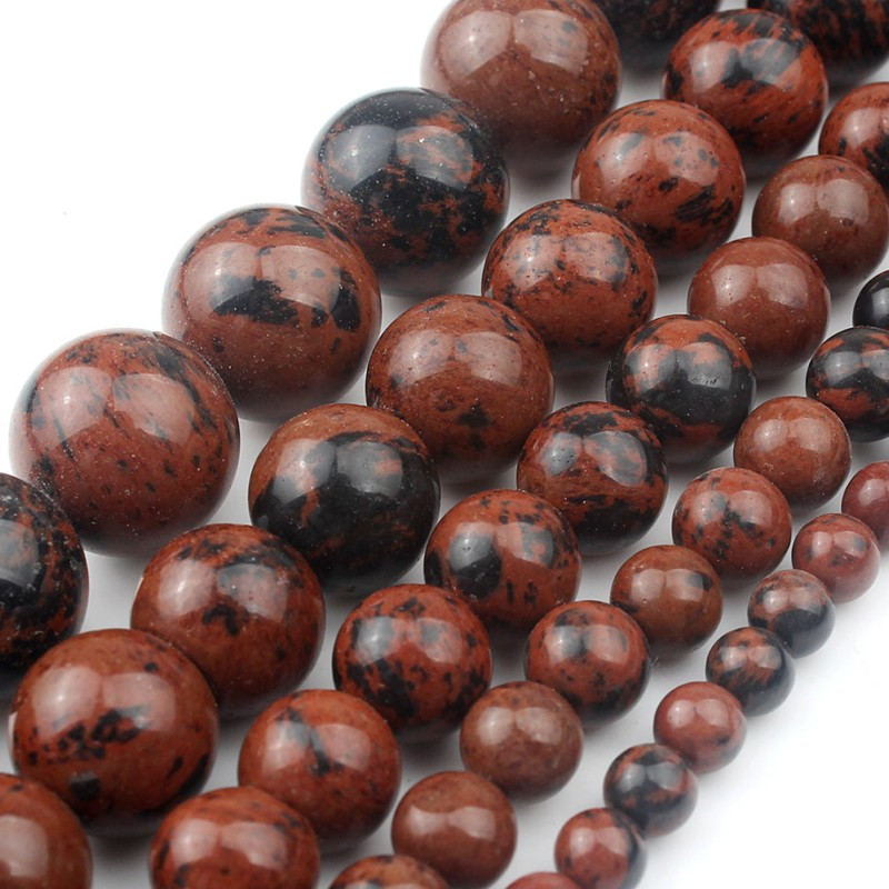 """Natural Faceted Mahogany Obsidian Round Beads 15.5/"""" 4,6,8,10,12,14mm Pick"""