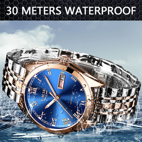 LIGE Watches Men Waterproof Stainless Steel Luxury Analogue Wrist Watches Week Display Date Sports Quartz Watch Men Montre Homme Islamabad