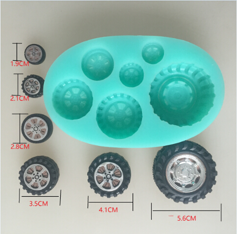 car wheel tires silicone flexible mold, tire silicone resin mold,  jewelry mold, fondant cake mold-in Cake Molds from Home & Garden
