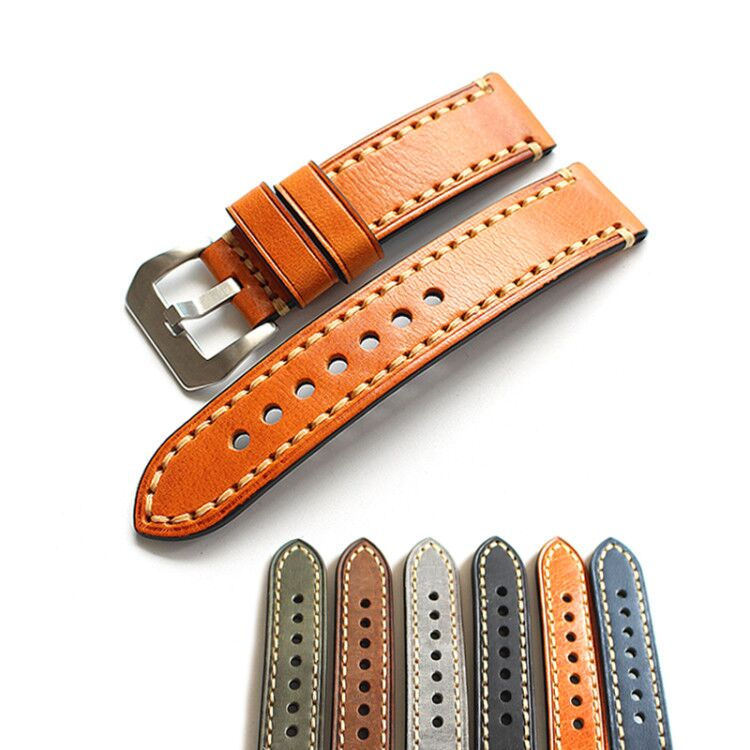 80cb99b131b 20 22 23 24 26mm Thick line Watchbands High-end retro Calf Leather Watch  band
