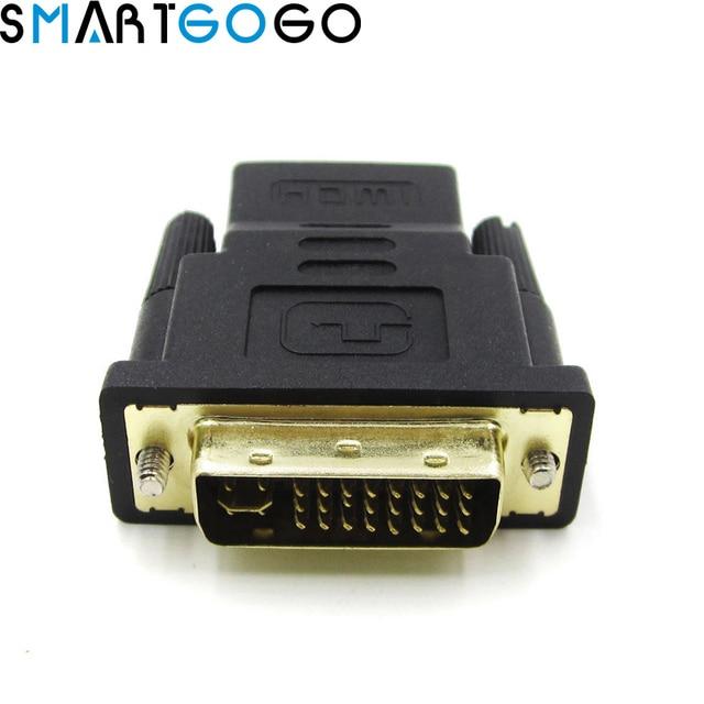 HDMI Female Ke DVI DVI-I 24 + 5 Pin Male Converter Adaptor HDMI2DVI Switch untuk PC PS3 Proyektor TV Box HDTV TV LCD