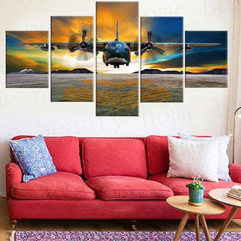 2017 Hot Sale No framed Canvas Painting 5 Panels Airplane Painting Canvas Wall Art Picture For Living Room Print Mordern arts no frame canvas