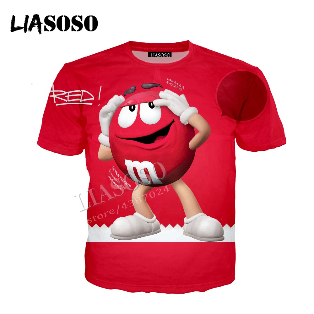 LIASOSO latest comfortable polyester T-shirt color candy casual T shirt chocolate bean Tshirt 3D printing men women Tees CX296