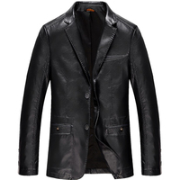 New Spring Autumn Blazer Leather Jackets Vintage Soft Sheepskin Business Casual Coat Motorcycle J Faux Leather Men Outwear 4XL