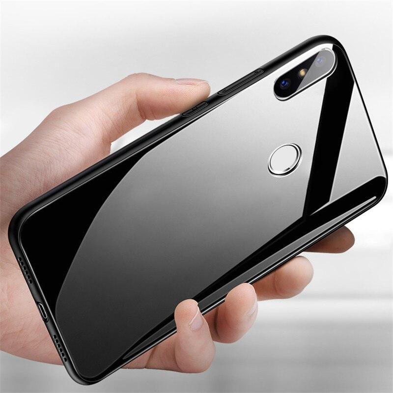 Mi 8 Case For Xiaomi mi8 SE coque Luxury Tempered Glass Anti-Shock silicone phone Case For Xiaomi Mi 8 Explorer Back Cover capa