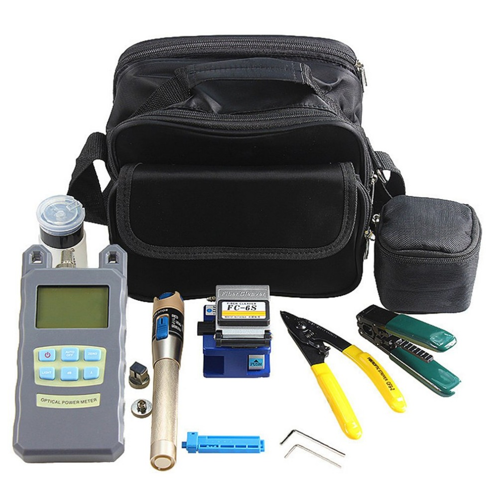 Practical Fiber Optic Tool Kit Fiber Cleaver Optical Power Meter 1mW Laser Tester Visual Fault Locator Fiber Stripper mt 7601 fiber optic power meter laser fiber optic tester optical fiber power meter automatic identification frequency