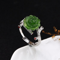 2018 Fashion Silver S925 Sterling Silver Natural Field Jade Jasper Rose Roses Open Loop Simple Ring Ring Wholesale