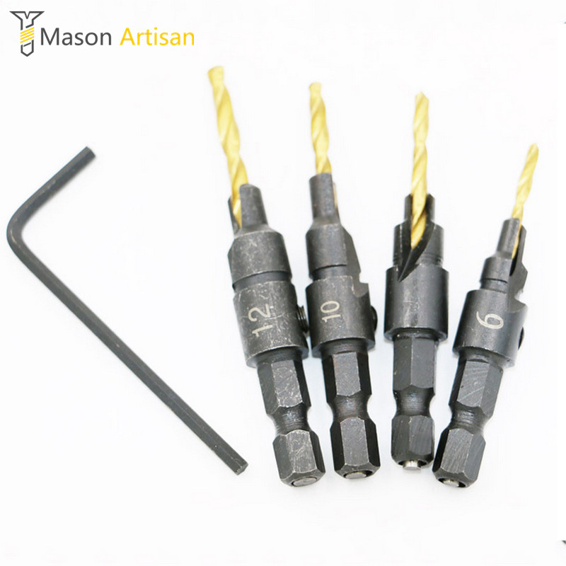 4Pcs/Set HSS Woodworking Drill Bits 1/4 Hex Shank Countersunk Drilling Cutter Hole Cutter Power Tools Accessories taladro brocas 2015 direct selling limited woodworking power tool 4pcs hss 1 4 hex shank countersunk drill bit tapper set