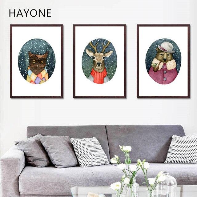 Nórdicos animales de dibujos animados arte lienzo, ciervos oso en la ...