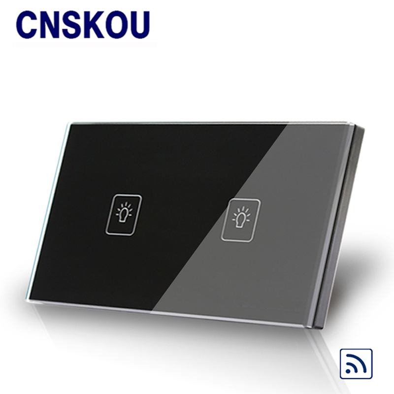 Cnskou US standard remote control 2gang wall touch switch black crystal glass panel for led lamp touch sensor switch smart home wall light free shipping remote control touch switch us standard remote switch gold crystal glass panel led 50hz 60hz