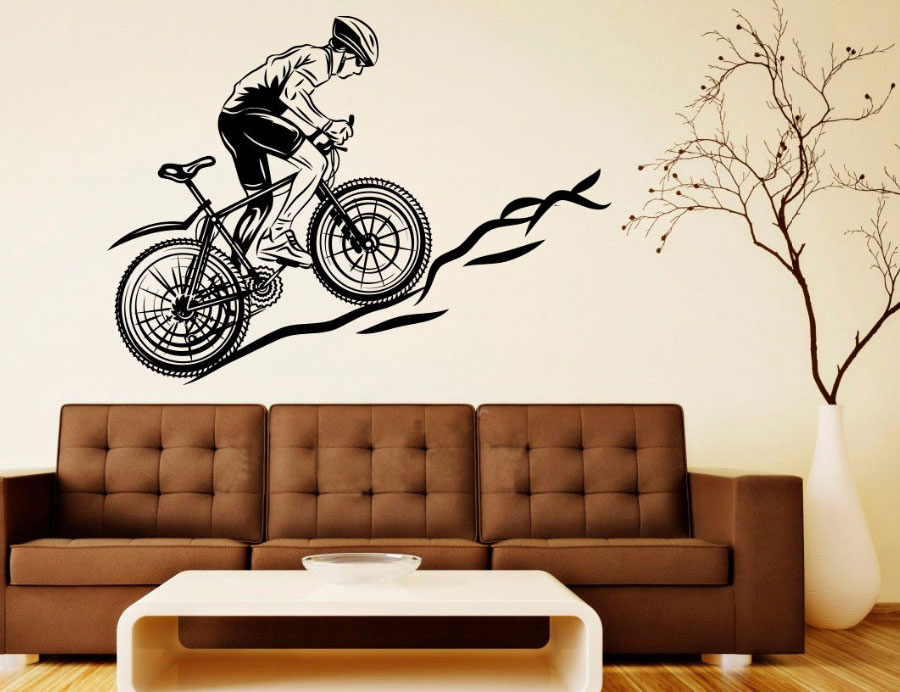 Cool Sport Bicycle Mountain Bike Decals Wall Vinyl Stickers Home Decor Living Room Bedroom Removable Art Murals 3YD7 in Wall Stickers from Home Garden