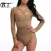Beateen 2018New Fashion Long Sleeve Zipper Cut Out Strap Sexy Bandage Bodysuit Hollow Out