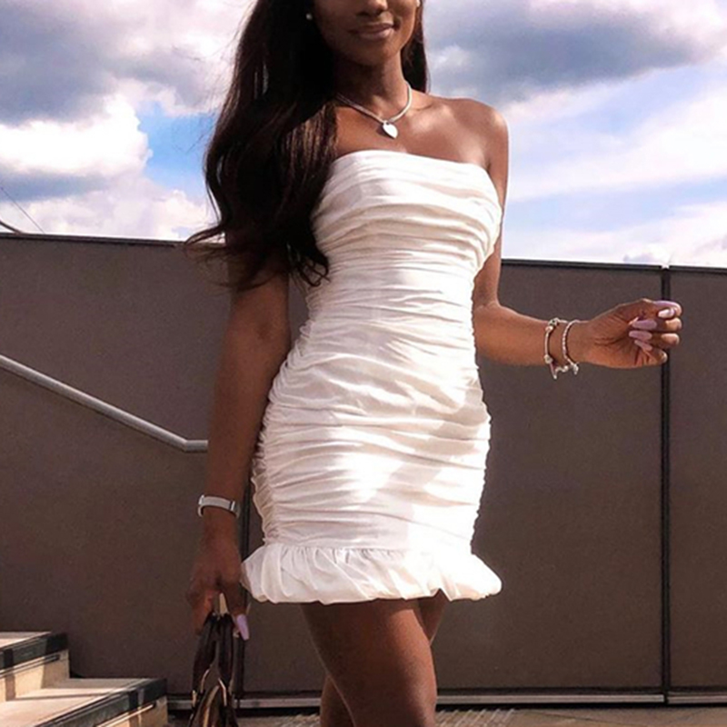 NewAsia Double Layers White Summer Dress 2019 Women Strapless Ruched Bodycon Dress Elegant Club Sexy Party Dress Tight Dresses