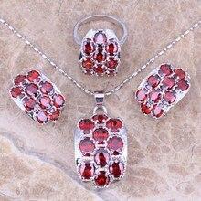 Red Creado Granate Joyería Conjuntos Pendientes Colgante Anillo de Plata Para Las Mujeres Tamaño 5/6/7/8/9/10 S0011