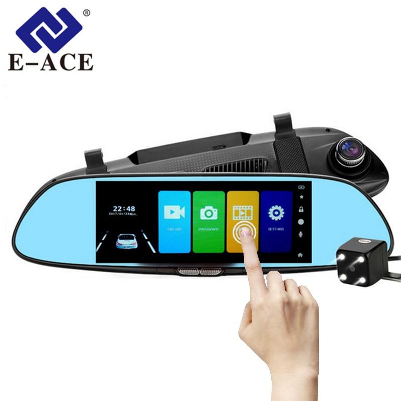 E-ACE coche DVR Full HD 1080P 7,0 pulgadas IPS grabadora de vídeo táctil cámara de doble lente con cámara de visión trasera cámara de tablero de registro automático