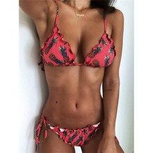 Women Bikini Triangle Push Up Wave Print Fruit Floral