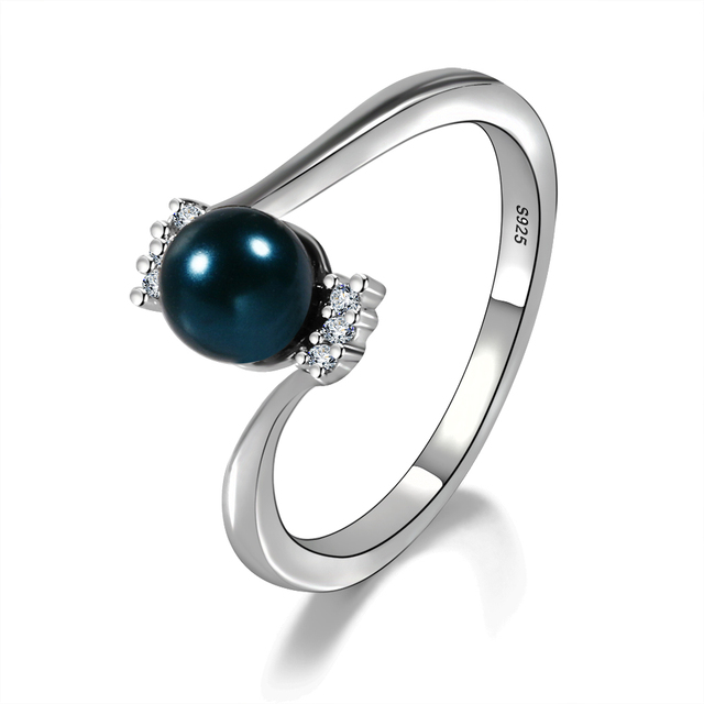 Fashion Elegant Pearl Rings For Women Natural Freshwater Peacock blue Pearl Ring