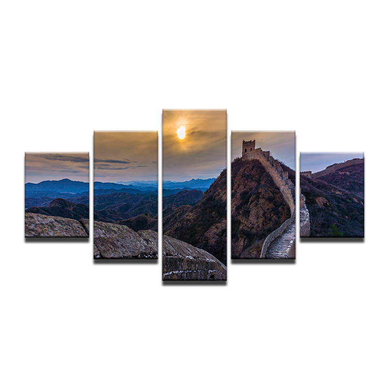 Wall Art Canvas Painting HD Printed Poster 5 Pieces Great Wall Sunset Landscape Modern Picture Home Decor For Living Room