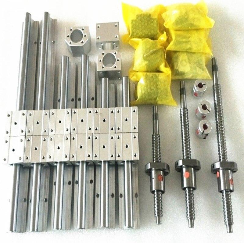 SFU1605-450/1550/1550mm vis à billes + SBR20 Guide linéaire 6 ensembles SBR20-400/1500/1500mm + BK12 BF12 + écrou pièces de CNC