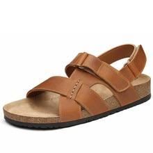 M leather sandals 2016 summer new men's beach tide cork SUB1199