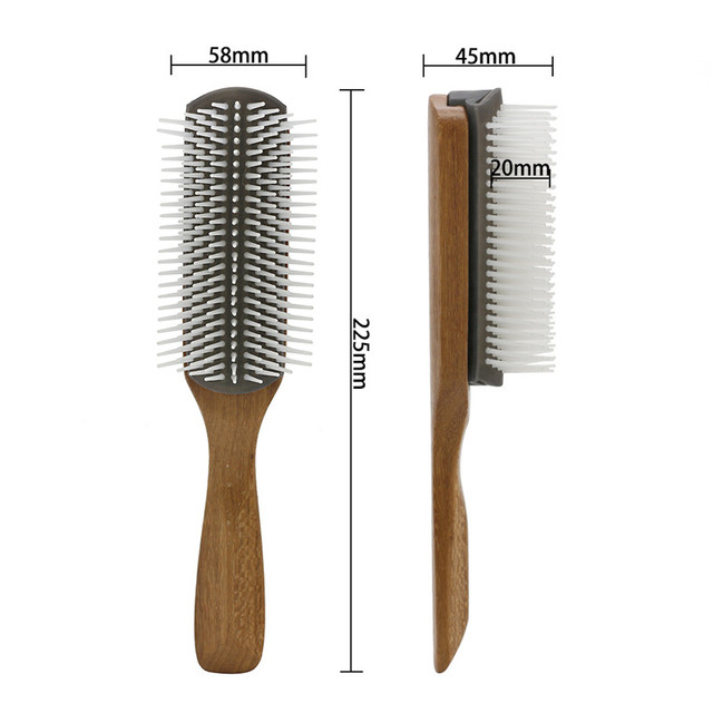 Detachable Rubber Hairbrush with Bamboo Handle
