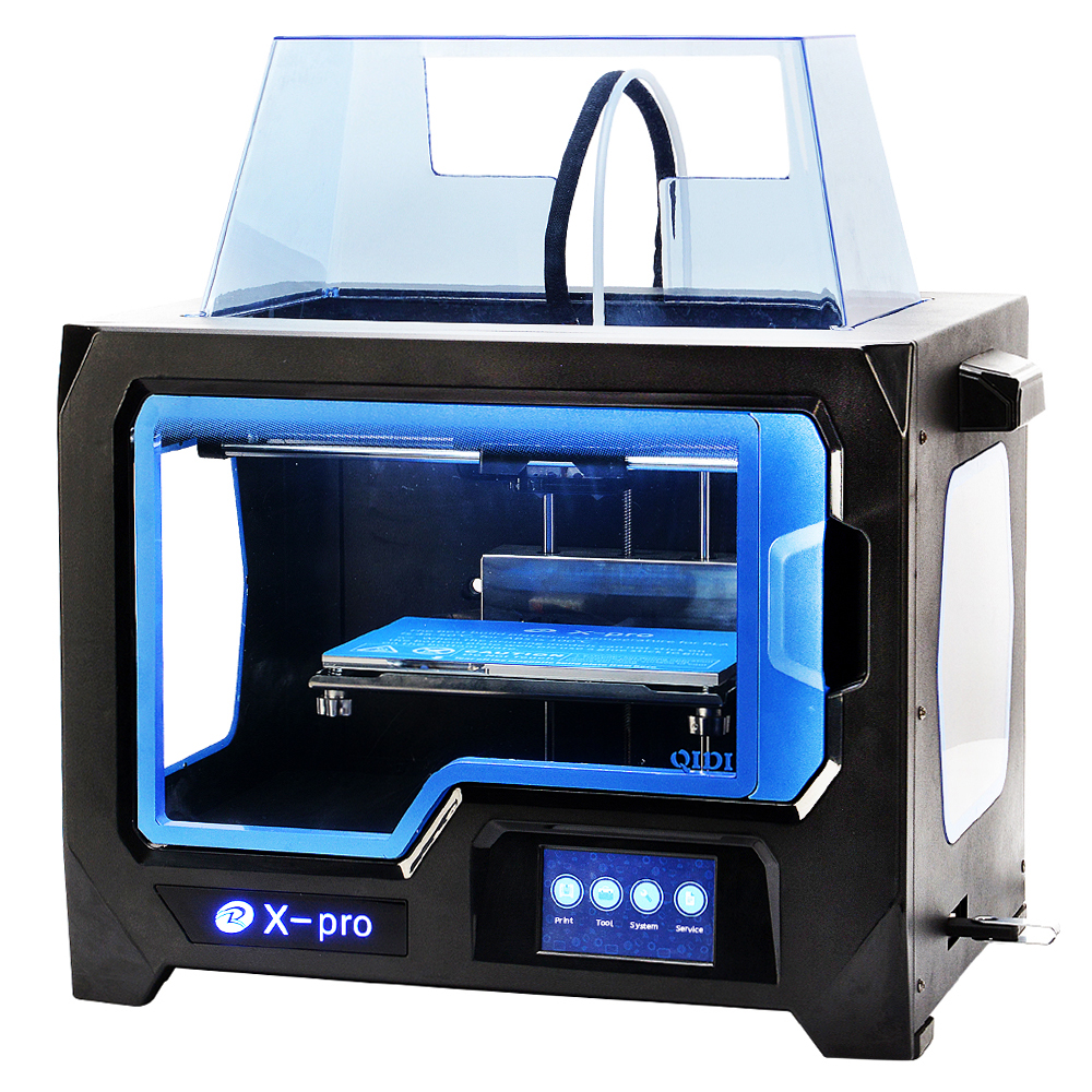 QIDI TECHNOLOGY 3D PRINTER New Model X -pro ,4.3 Inch Touch Screen,Dual Extruder With 2 Spool of Filament,Works With ABS And PLA double color m6 3d printer 2017 high quality dual extruder full metal printers 3d with free pla filaments 1set gift