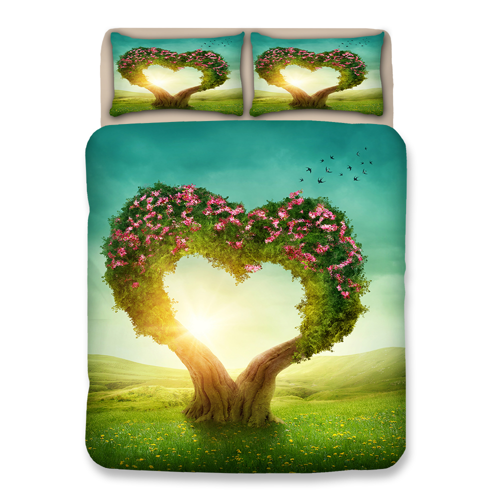 Love tree 3D bedding sets flower Duvet cover Pillowcase king Queen king Home textile Luxury fashion quilt cover sets bedclothesLove tree 3D bedding sets flower Duvet cover Pillowcase king Queen king Home textile Luxury fashion quilt cover sets bedclothes