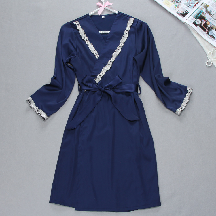 New Design European Best Selling 2017 Spring Half Sleeve Robe + Gown Set Two Pieces Womens Sleepwear Wholesale Gifts Items Hot