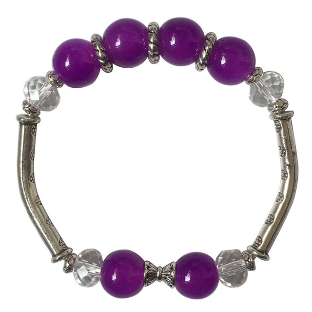 Fashion Exquisite Crystal Pink Purple Gl Beads Bracelet Ethnic Tibetan Silver Charm Bracelets Women Accessories