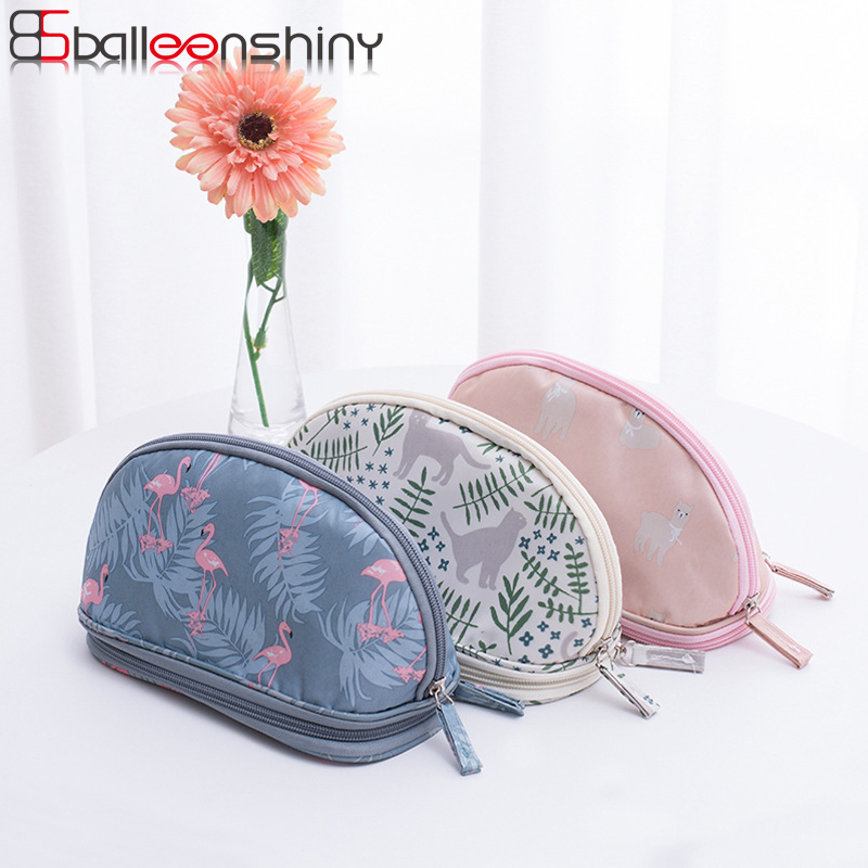 BalleenShiny Oxford Cosmetic Storage Bags Fresh Printed Double Layer Portable Makeup Gadgets Neaten Organizer Travel Pouch