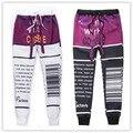Corredores hombres de la manera/de las mujeres 3d pantalón café carta impresión actavis pantalones harajuku pantalones tamaño S-XXL envío gratis