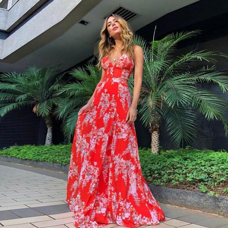 f03f6a3254a4bcf Летние платья и сарафаны пляжное платье туника женское длинное Vestidos  Большие размеры элегантное Бохо шикарное с v-образным вырезом без спинк.