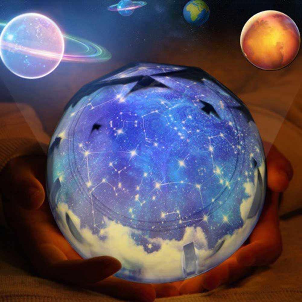 Светодиодный ночник USB Перезаряжаемый звездное небо Звезда планета Луна Космос Лампа проектора ребенок подарок на день рождения LKS99
