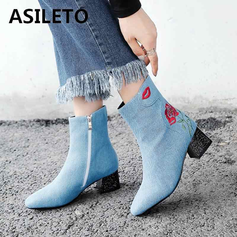 158747946473 ASILETO Ankle Boots women boots female Embroider denim Shoes Woman Thick  heels jeans boots booties botte
