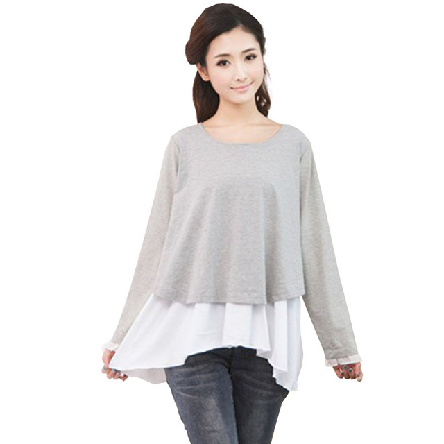 Nursing Tops Tees Maternity Wear Shirt Clothing Ropa Embarazada Cotton Breast Feeding Mothers Lace Clothes For Pregnant Women