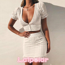 2018 Spring Women's OL Sexy Lace Hollow Suits Female V Neck Hip Pencil Dress Sexy Hollow Out Tops 2 Piece Sets Bodycon Dress