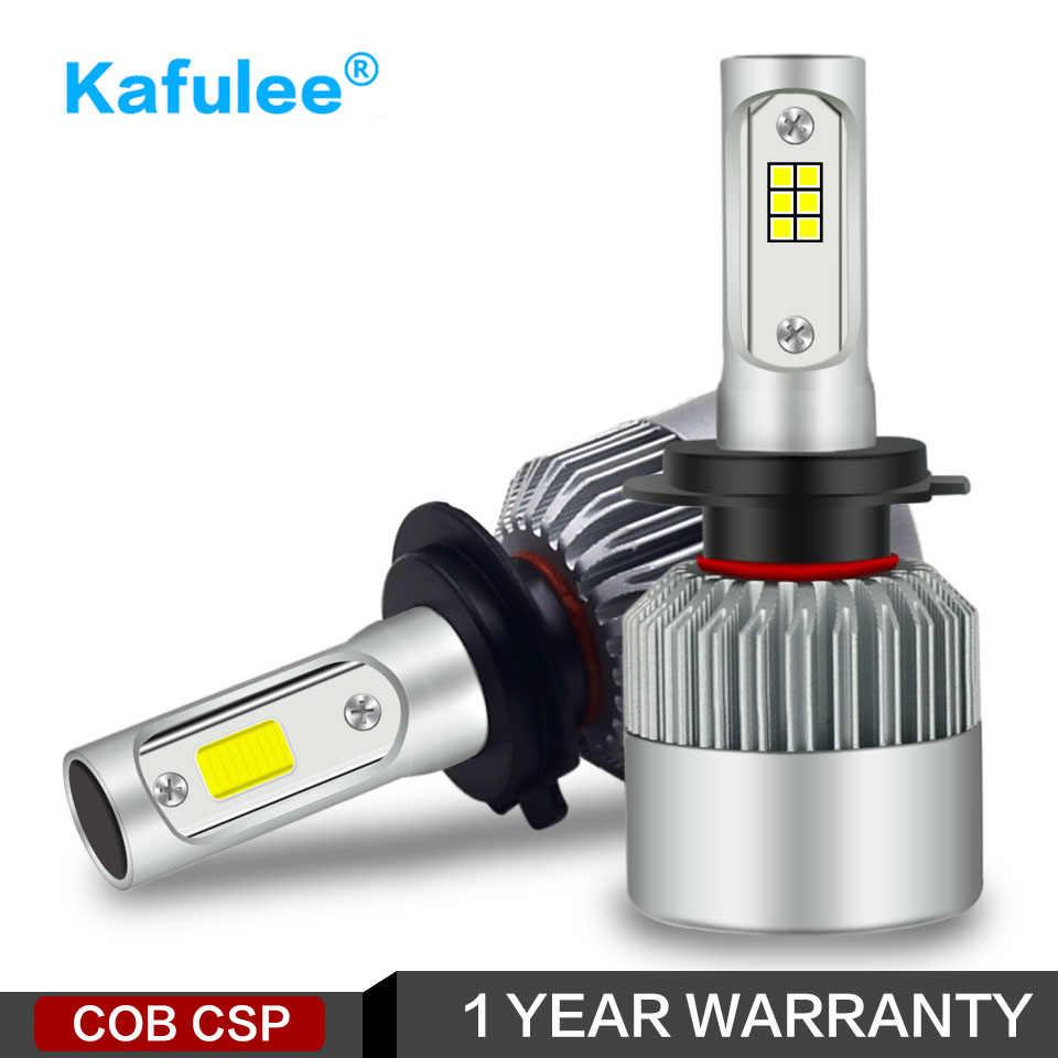 Kafulee фар автомобиля H7 светодиодный H4 H8 H11 H1 H3 H13 HB3 HB4 9005 9006 9007 S2 COB CSP 12 V 24 V 6000 K 72 W фары для 2PSC Автоматическая лампочка свет