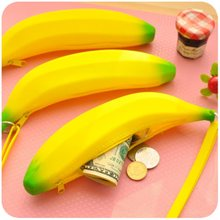 Novelty Funny Silicone Portable Yellow Banana Coin Purses Multifunction Pencil Case Purse Bag Wallet Key Bag Pouch(China)