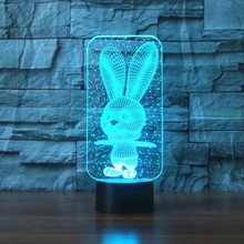 led Big Ear Rabbit Bunny 3D LED Lamp Atmosphere lamp 7 Color Changing Visual illusion Decor
