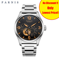 2019 Parnis Mens Watches Skeleton Automatic Clock Gold 21 Jewel Designer Mechanical Movement Men's Watch Yellow Luminous Markers