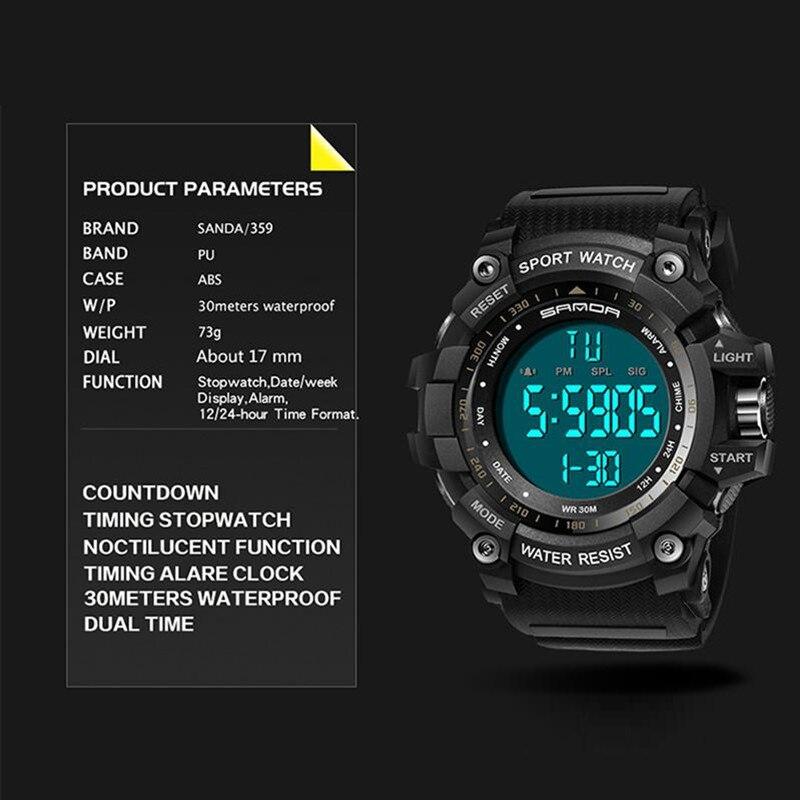 2020 SANDA montre numérique hommes marque de luxe montre militaire mode hommes Sport montre alarme chronomètre horloge mâle Relogio Masculino 5