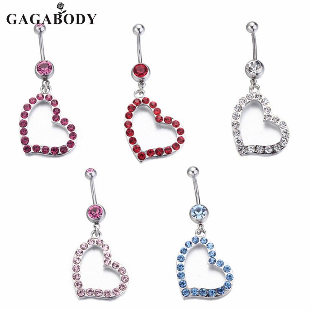 2015 Rhinestone Heart Belly Rings Dangle 1PC Piercing Ombligo for Women Body Jewelry